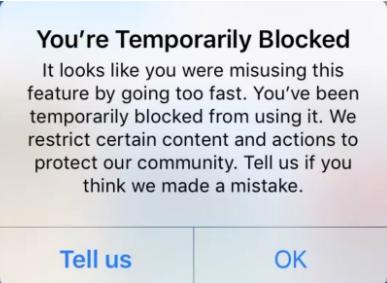 Instagram action block notification