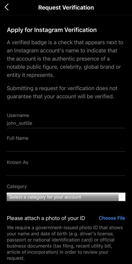 Instagram verification form from the app